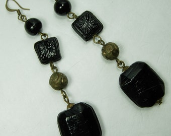 1970s Earrings Black Poured Molded Glass Dark Brass Beads Pierced 4 Inches Statement Earrings