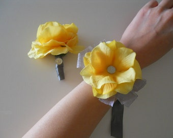 Yellow Hydrangea Wrist Corsages Rhinestone Accent with Matching Bout