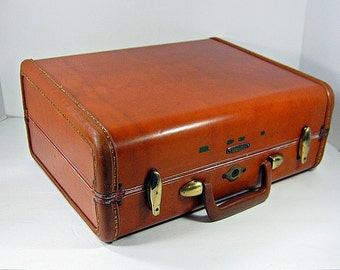 Vintage SAMSONITE SUITCASE Small Overnight Luggage Brown Hardsided  Storage Craft Shows Display