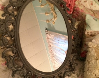 Vintage chalkboard/mirror, gloss grey ornate shabby,farmhouse, French wall decor
