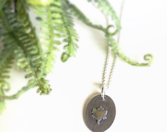 Maple Leaf Necklace, Botanical Necklace Nature Jewelry, Soldered Charm Silver Necklace, Silver Leaf Pendant Gift for Her, Soldered Charm