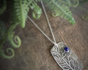 Botanical Necklace with Blue Gemstone, Real Leaf Jewelry, Statement Necklace with Blue Lapis Stone