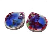 Unusual Ceramic Earring Charms Pair Rustic Stoneware Pottery Rustic Blue Floral