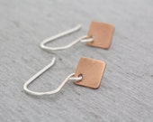 Copper Diamond Shaped Earrings, Square Copper Earrings, Small Earrings, Geometric Earrings, Tiny Earrings, Simple Earrings : CdiDtP