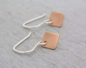 Tiny Copper Earrings, these tiny diamond shaped copper earrings are handmade in Sydney from recycled copper : CdiDtP