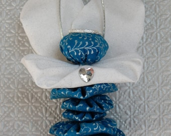 Angel Fairy Ornament in Blue with Silver Vine Swirl