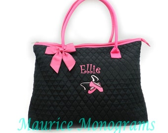 Personalized Ballet Large Tote Bag Black with Hot Pink Trim Quilted Dance Bag Monogrammed FREE