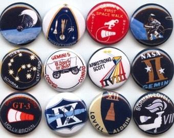 "Gemini Space Program Human mission space flight history astrophysics 12 Pinback 1"" Buttons Badges Pins"