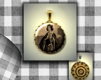 St Adelaide of Italy Christian icon flat button CABOCHON in Brass Charm / Pendant
