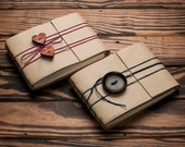 His and Hers Medium Leather Journal or Leather Sketchbook, Valentines Day Gift For Both, Buttermilk Colored Handbound Coptic Stitch Notebook