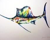 "Sailfish Watercolor Original, 11x15"" painting, Gift Present Idea, Colorful Detail Bright Artwork, Fish, Ocean, Bay, Sea, Aquatic Gifts, Blue"