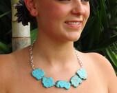 Chunky Turquoise Mini Statement Necklace - Aqua Turquoise Slab Necklace Turquoise Necklace Chunky Necklace Turquoise Jewelry