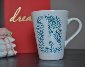 Dotted initial hand painted coffee mug