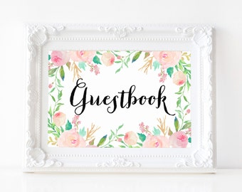 "Instant Download - Spring Shower Guestbook Print - 5""x7"""