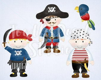 Pirates Clip art, Digital Pirate Art, Pirate Art, Watercolor Pirate Art, Boys Pirate Illustrations, For Commercial use, PNG file - 300 dpi