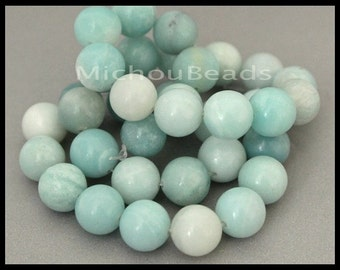 "16"" Strand - 10.5mm AMAZONITE Round Gemstone Beads - Genuine Natural semi precious Opaque Grade B Gemstone - Instant Shipping - USA  6803"