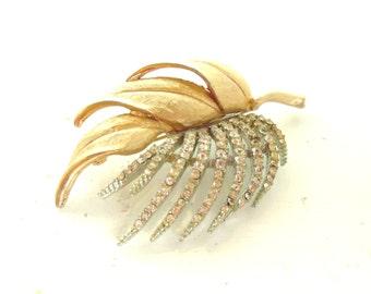 Vintage Brooch Rhinestone Gold Leaf 50's (item 40)