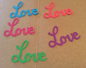 24 LOVE word you choose 5 colors set or  pink and white, blue and green, white and colors, bright pink Hand punched confetti,punches