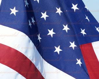 American Flag taken on Salem Ferry photo greeting card, 5x7 blank inside. card stock serves as mat. patriotic, home decor