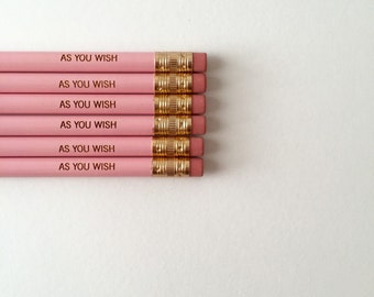 As you wish pastel pink pencil set of 6. engraved pencils. Princess bride stocking stuffers.