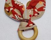 Fall Fox Print Fabric Organic Maple Wood Teething Ring/ Ready to ship!