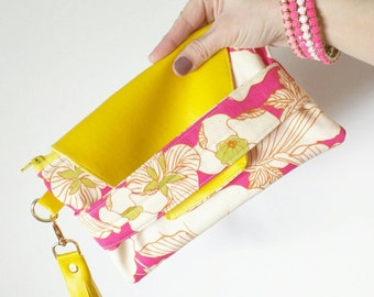 Flap foldover clutch in pink floral and yellow