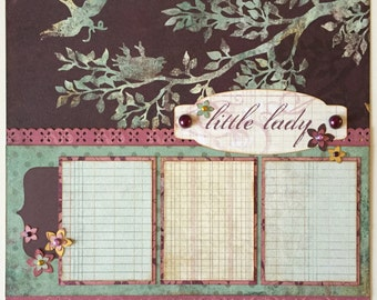 Little Lady Premade 1 Page 12x12 Scrapbook Layout