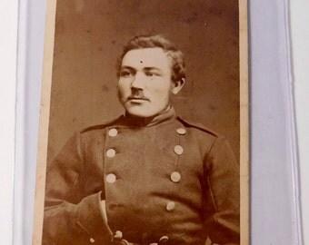 Vintage Danish Soldier Photograph in Protective Plastic Case - Lot 2