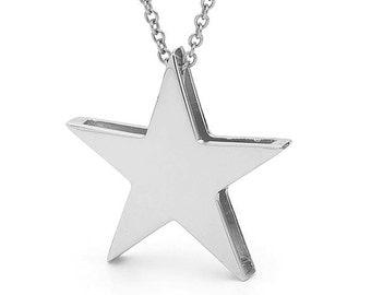 White Gold Big star Pendant, 9kt, White Gold star Necklace
