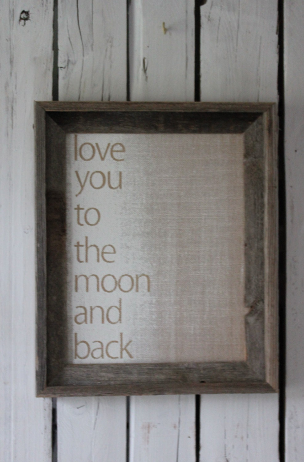 Burlap Canvas-Love You To The Moon-Ready to frame