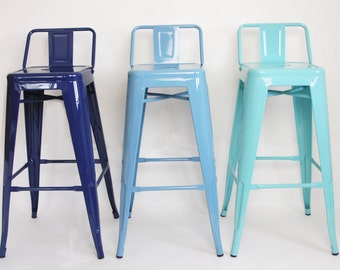 "Reserved for Deborah Custom Painted Tolix Style Low Back Stool in the Color of your Choice 26"" or 30"" Counter or Bar Height"