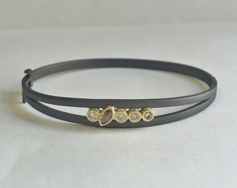 Oxidized Double Band Bangle Bracelet accented with Brilliant cut Diamonds and Marquise Raw Diamond | ready to ship!
