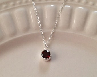 Tiny Garnet Necklace in Sterling Silver,Faceted Garnet Necklace, January Birthstone Necklace