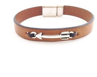 Silver Arrow Leather Bracelet. Choose Bracelet Color. Magnetic Clasp Premium Leather Bracelet.