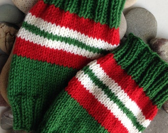 Green, White and Red Handknit Wool Holiday Boot Tops/Leg Warmers. OOAK pair.