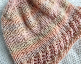 Peach Woolknit Hat, for Adult or Teen.