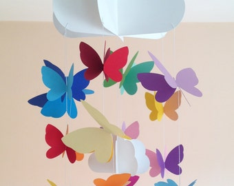 Baby crib mobile, nursery mobile, decoration for nursery and children's room, decoration with cloud and butterflies sewn with colored paper