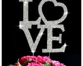 ON SALE 1 Cake Topper Large LOVE Glass Crystal Bling Rhinestone Cake Topper Wedding Anniversary Engagement Birthday
