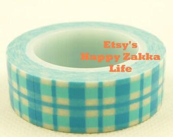 Blue Grid - Japanese Washi Masking Tape - 11 Yards