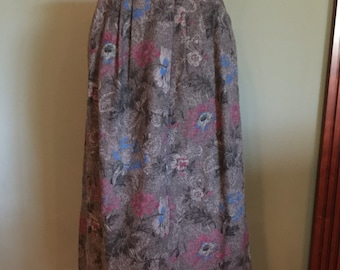 60's Grey Floral Skirt, size S