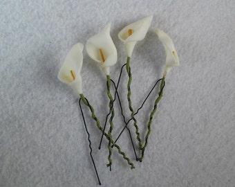 10 Wedding Bridal Bridesmaid Calla Lilies Hair Pins Clips.  Hairpins Hair Accessories. Fast from USA
