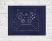 Video Game Controller Blueprint Elevation Decorative Prints