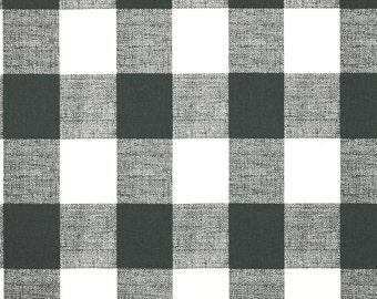Fabric Yardage Gunmetal Grey Buffalo Check Fabric - Premier Prints Fabric - Fabric by the Yard