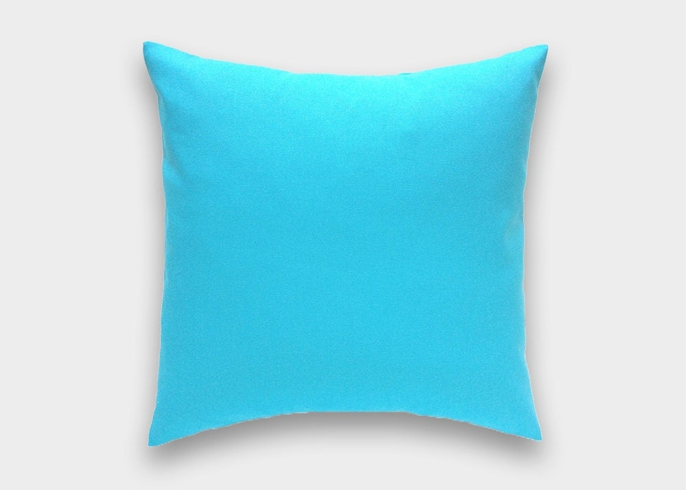 Throw Pillows Aqua Blue : Solid Aqua Blue Decorative Pillow Cover. All Sizes. Throw