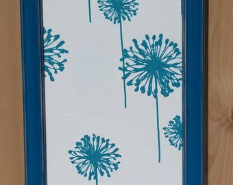 Fabric magnet board, turquoise dandelions, jewelry organizer, bulletin board, photo display, magnet collection