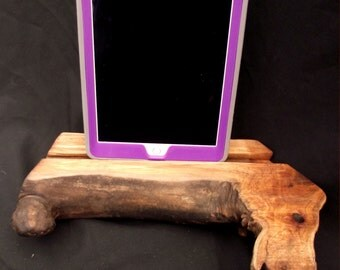 Natural Iphone stand, docking station,  wood reclaimed organic figured maple free US shipping