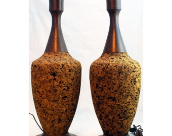 "Pair Mid-century Modern Cork and Wood Lamps approx 30"" tall - Free US Shipping"