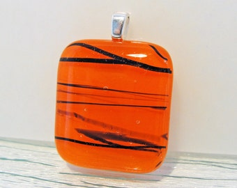 Fused Glass Pendant Orange and Black Oregon Jewelry Necklace Womens Accessories Gifts for Her Under 20 Dollars Gifts for Girls