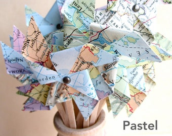 Pinwheels-Assembled, Cupcake Topper, Pinwheel Cupcake, Map Pinwheels, Vintage Wedding, Small Size, Map Place Card, Shabby Chic, Travel Theme