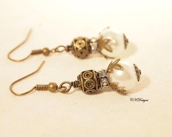 Vintage Style Pearl Drop Earrings,  Timeless Pearl Drop Earrings, Brass Dangle Earrings, Pierced or Clip-on Earrings.  Handmade Earrings.